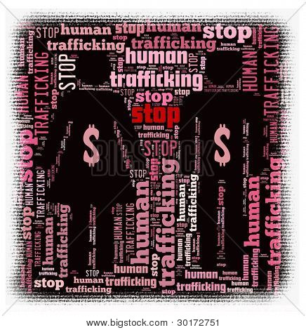 Stop Human Trafficking Concept in word collage