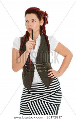 Red-haired Girl Isolated On White Background