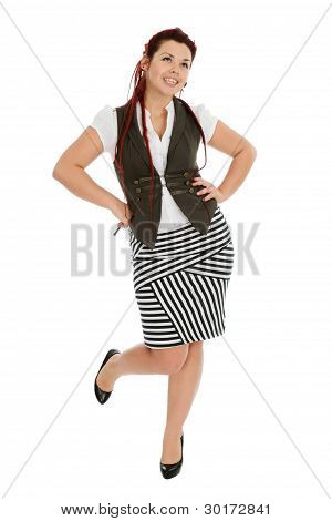 Attractive Beautiful Girl Isolated On White Background