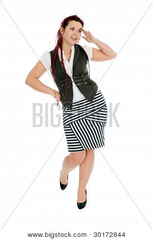 Attractive Young Woman Isolated On White Background