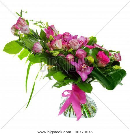 buquet of roses, cymbidiums and lisianthus