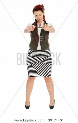 Young Woman With Pen Isolated On White Background