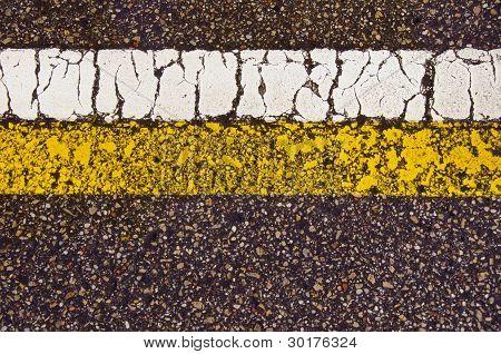 Asphalt Road Mark Macro Backdrop White Yellow Line