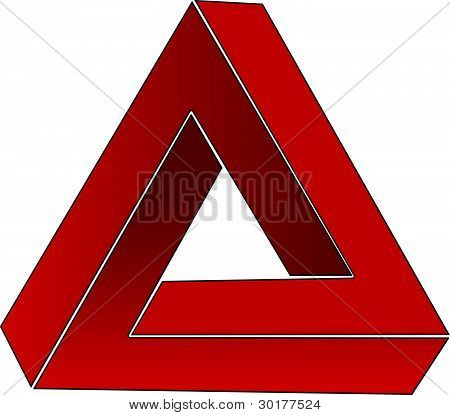 Impossible triangle; optical illusion