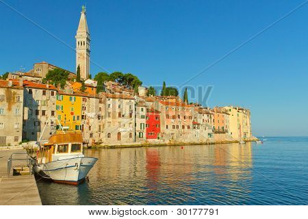 Old Houses With The St. Euphemia Church's Tower.(rovinj)