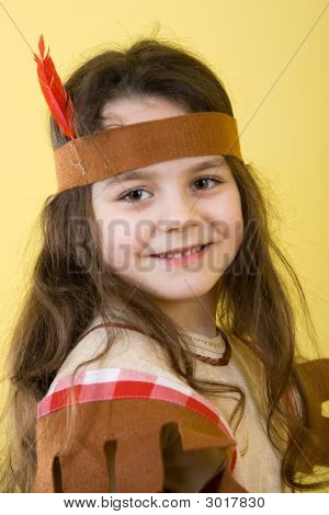 Little Girl As An Indian.