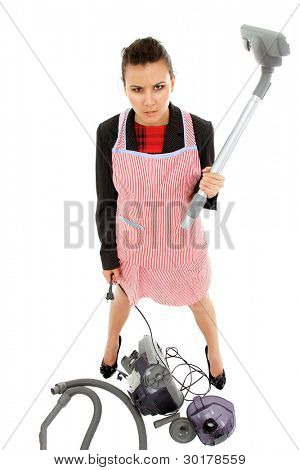 businesswoman and housewife tired in apron with broken vacuum cleaner isolated on white background