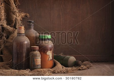Old Dusty Bottles Still Life