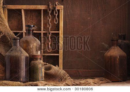 Old Dusty Bottles Still Life