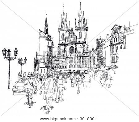 Old Town Square, Prague, Czech Republic. Bitmap copy my vector drawing