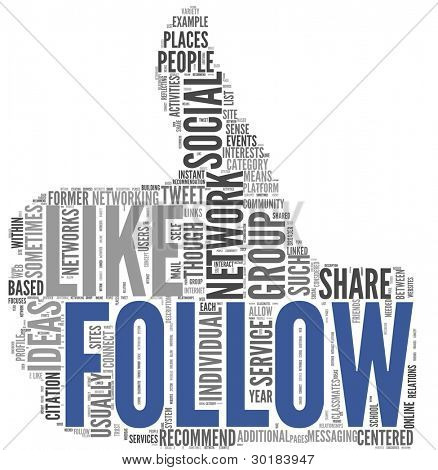 Follow as social networking concept in tag cloud of thumb up shape isolated on white background