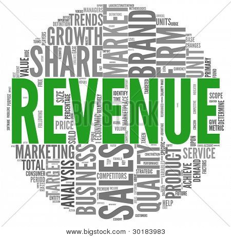 Revenue and sales concept in word tag cloud on white background