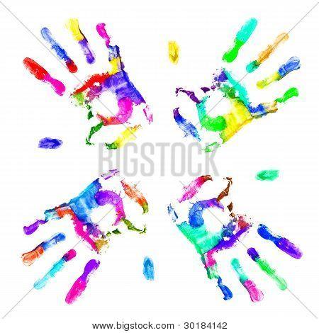 Multicolored Hands Print