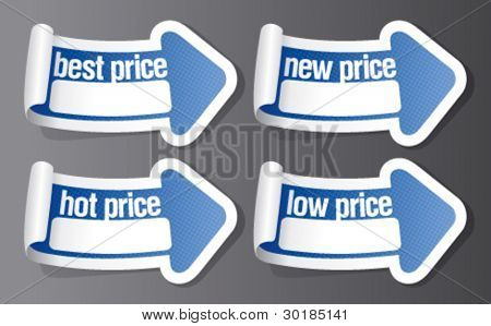New best price stickers in form of arrow.