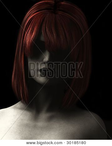 Illustration Of Woman With Red Hair