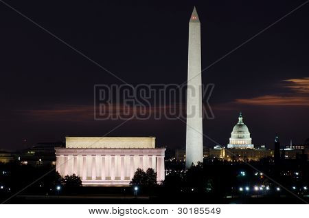Washington DC National Mall at sunrise, including Lincoln Memorial, Monument and United States Capitol building