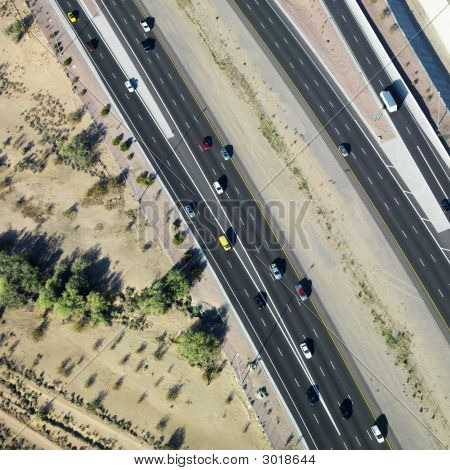 Aerial Of Highway.