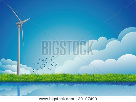 Windmill on the field.