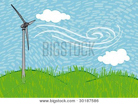 Windmill on the field. illustration freehand