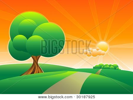lonely tree on the green field. separated layers in vector file.