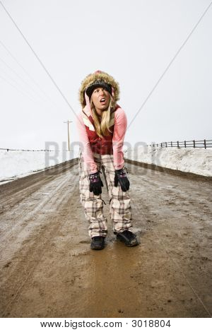 Woman In Road.