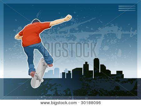 Skate Boarder machen einen Trick auf die Silhouette der Stadt.