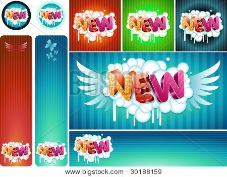 banner and sticker set. Easy editable. all elements are layered separately in vector file.
