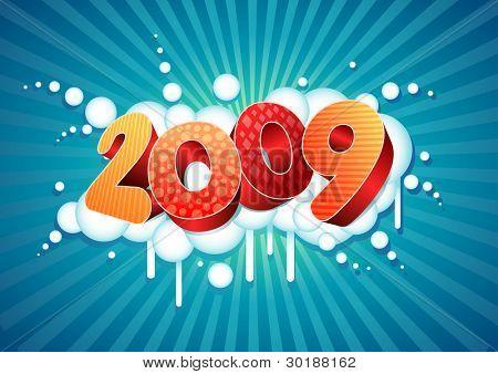2009 New Year Zusammensetzung. alle Elemente sind einzeln Vektordatei geschichtet.