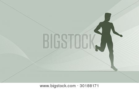 Runner silhouette on abstract background.
