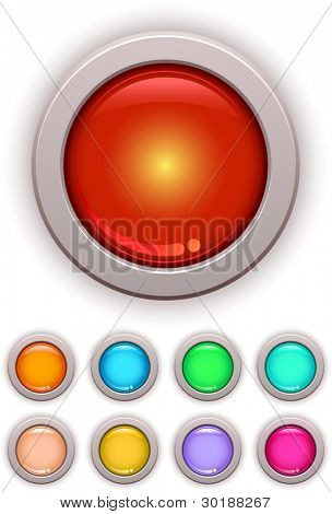 Vector glossy button set. Easy editable separated layers in vector file.