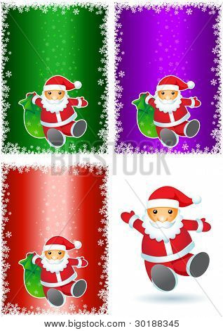 Santa Claus on the colorful backgrounds. visit my portfolio for other christmas works.