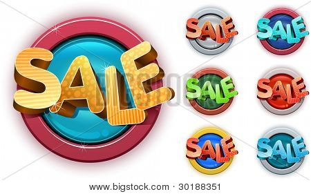 Vector 3d sale tag set.