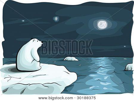 doublemoon and bear. hand draw vector illustration.