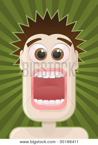 Fear. vector man portrait.  All elements are layered separately in vector file.