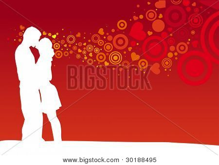 Kissing couple on heart shaped red background.