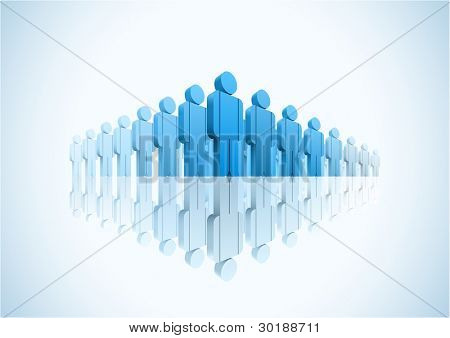 Large group. 3d vector group of people illustration