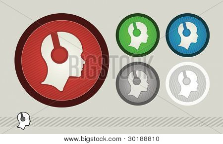headphone symbol set. vector illustration. easy editable separated layers in vector file.