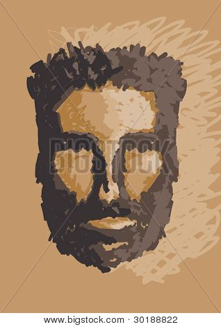 caveman portrait. vector hand draw illustration.