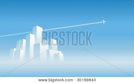 leaving the city. vector abstract city scene and plane. easy editable separated layers in vector file.