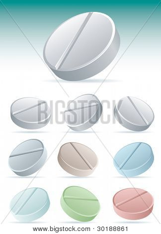 Pills icon set 2. vector illustration icon set. Easy editable CMYK vector file.