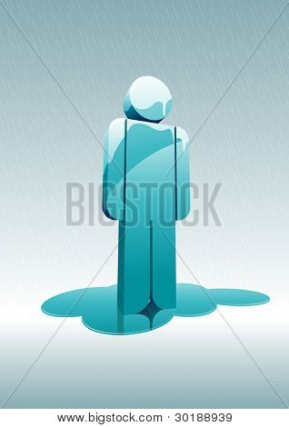 melting man under rain. 3d vector illustration. Elements are layered separately in vector file. Easy editable.