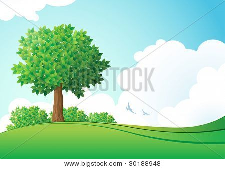 grüne Landschaft. Vektor-Illustration. Elemente werden getrennt in Vektordatei geschichtet.
