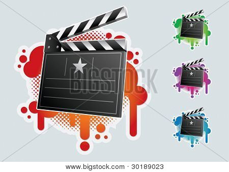 Clapboard symbol set. CMYK colors. Elements are layered separately in vector file. Easy editable graphics.