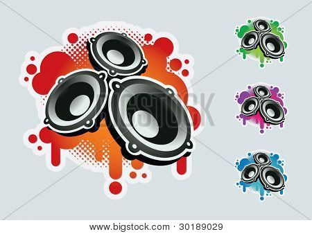 Speaker symbol set. CMYK colors. Elements are layered separately in vector file. Easy editable graphics.