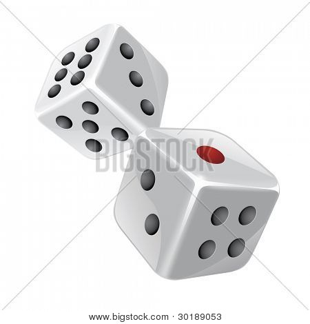 Dices vector illustration. Isolated on white. CMYK colors.