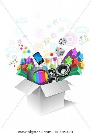 Geschenk-Box Überraschung Unterhaltung. alle Elemente sind einzeln Vektordatei geschichtet.