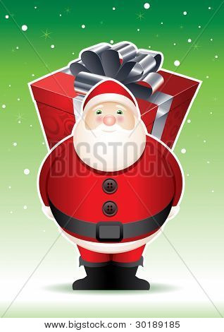 Santa's big surprise. Vector Santa Claus illustration with gift boxes. Elements are layered and grouped in vector file. Vector file CMYK color mode.