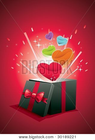 Vector illustration of exploding gift box. All elements are layered separately in vector file. CMYK color mode.