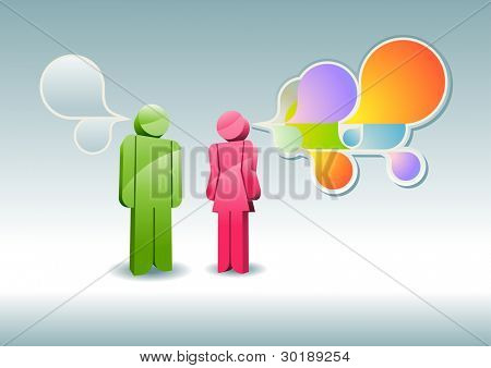 Man and woman having a discussion. Vector illustration.