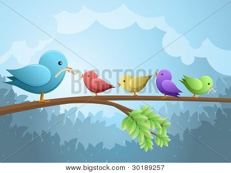Bird family breakfast. vector illustration.